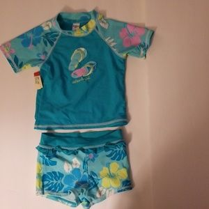 Girls Short Sleeve & Shorts Two Piece Swimsuit